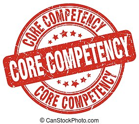core competency red grunge stamp