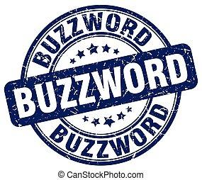 buzzword blue grunge stamp