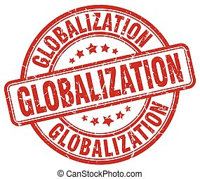 globalization red grunge stamp