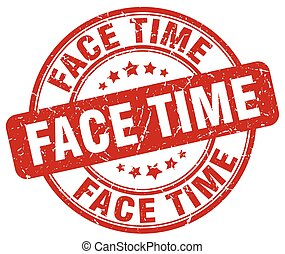 face time red grunge stamp
