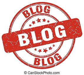 blog red grunge stamp