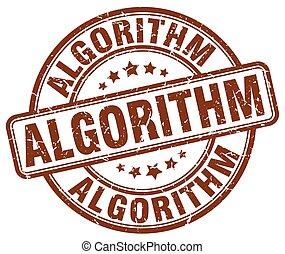 algorithm brown grunge stamp