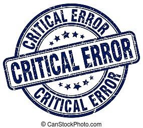critical error blue grunge stamp