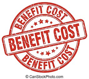 benefit cost red grunge stamp