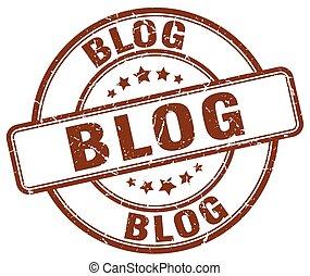 blog brown grunge stamp