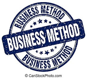 business method blue grunge stamp