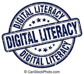 digital literacy blue grunge stamp