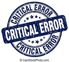 critical error blue grunge stamp