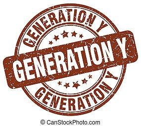 generation y brown grunge stamp