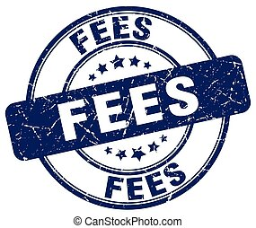 fees blue grunge stamp