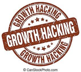 growth hacking brown grunge stamp
