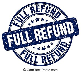 full refund blue grunge stamp