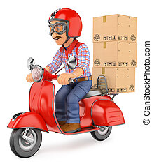 3D Courier delivery man delivering a package by scooter motorcycle