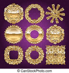 Gold mandala set. Purple version. Perfect cards for any...