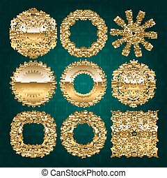 Gold mandala set. Turquoise version. Perfect cards for any...
