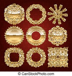Gold mandala set. Red version. Perfect cards for any other...