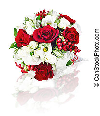 colorful flower wedding bouquet for bride isolated on white