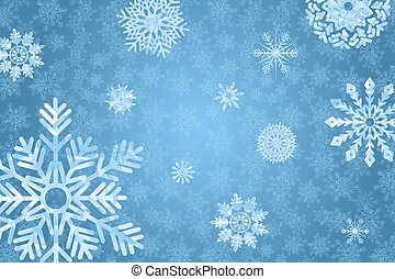 Blue winter bakground with snowflakes. - Blue winter...