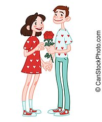 Romantic couple holding hands with flower.