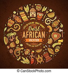 Set of Africa cartoon doodle objects round frame - Colorful...