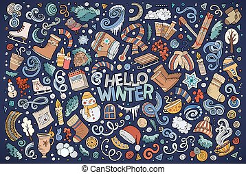 Cartoon set of Winter season objects - Colorful vector hand...