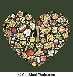 set, cibo, articoli, simboli, scarabocchiare, oggetti,...
