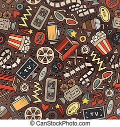 Cartoon cute hand drawn Cinema seamless pattern. Colorful...