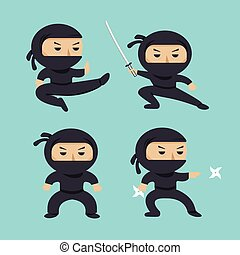 Set of ninja characters showing different actions. Serious ninja with sword running, attacking, throwing star, jumping, kicking, hitting. Flat style vector illustration.