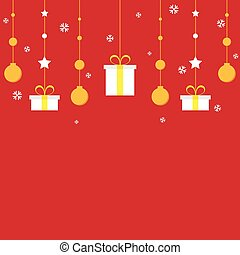 Golden Christmas decoration on red background