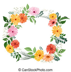 Watercolor floral bouquet with gerberas and leaves -...