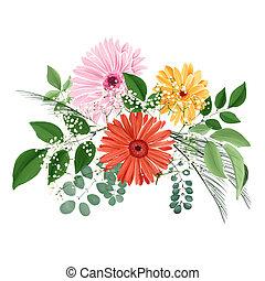 ramo, acuarela, hojas,  floral,  gerberas