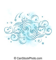 Blue dream cloud and shooting stars boho doodle isolated...