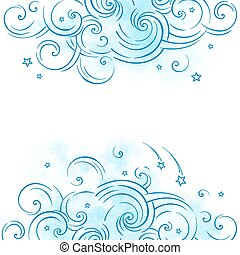 Blue dream cloud and shooting stars boho doodle background...