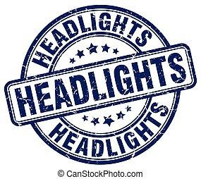 headlights blue grunge stamp