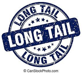 long tail blue grunge stamp
