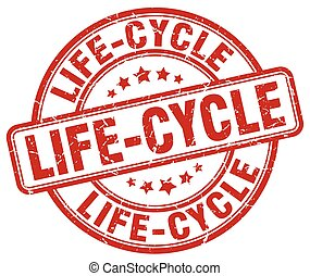 life-cycle red grunge stamp