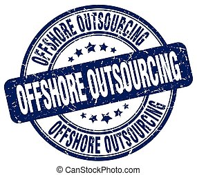 offshore outsourcing blue grunge stamp