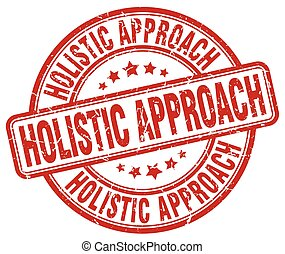 holistic approach red grunge stamp