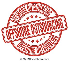 offshore outsourcing red grunge stamp