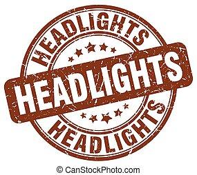 headlights brown grunge stamp