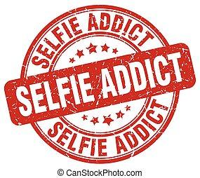 selfie addict red grunge stamp