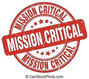 mission critical red grunge stamp