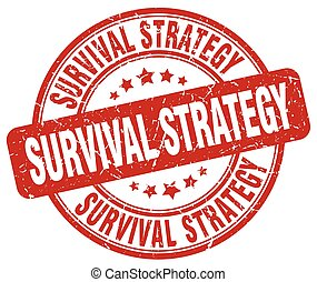 survival strategy red grunge stamp