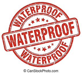 waterproof red grunge stamp