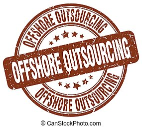 offshore outsourcing brown grunge stamp