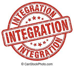 integration red grunge stamp