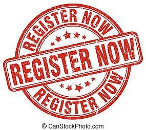 register now red grunge stamp