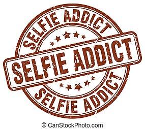 selfie addict brown grunge stamp