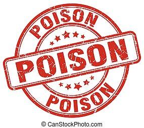 poison red grunge stamp