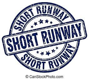 short runway blue grunge stamp